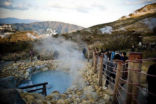 Owakudani, aguas termales y vapores en Hakone